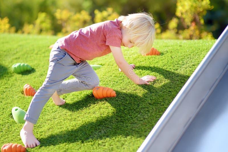 Милый мальчик имея потеху в спортивной площадке Ребенк взбираясь на небольшом наклоне травы стоковые фотографии rf