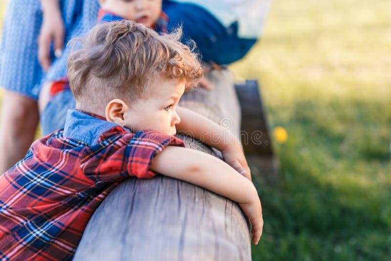 Милый мальчик имея потеху снаружи в стране в лете на заходе солнца мальчик играя с желтыми одуванчиками в саде стоковая фотография rf