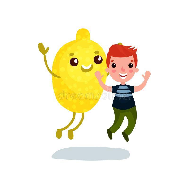 Милый мальчик имея потеху с гигантским характером плодоовощ лимона, лучшими другами, здоровой едой для вектора шаржа детей бесплатная иллюстрация