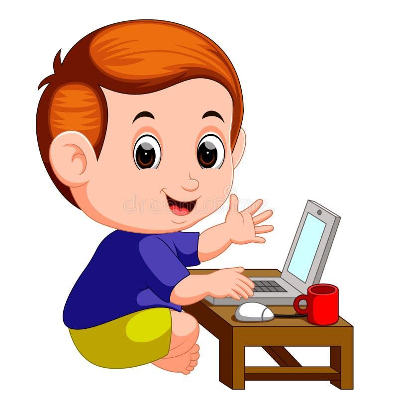 Милый мальчик используя портативный компьютер иллюстрация вектора