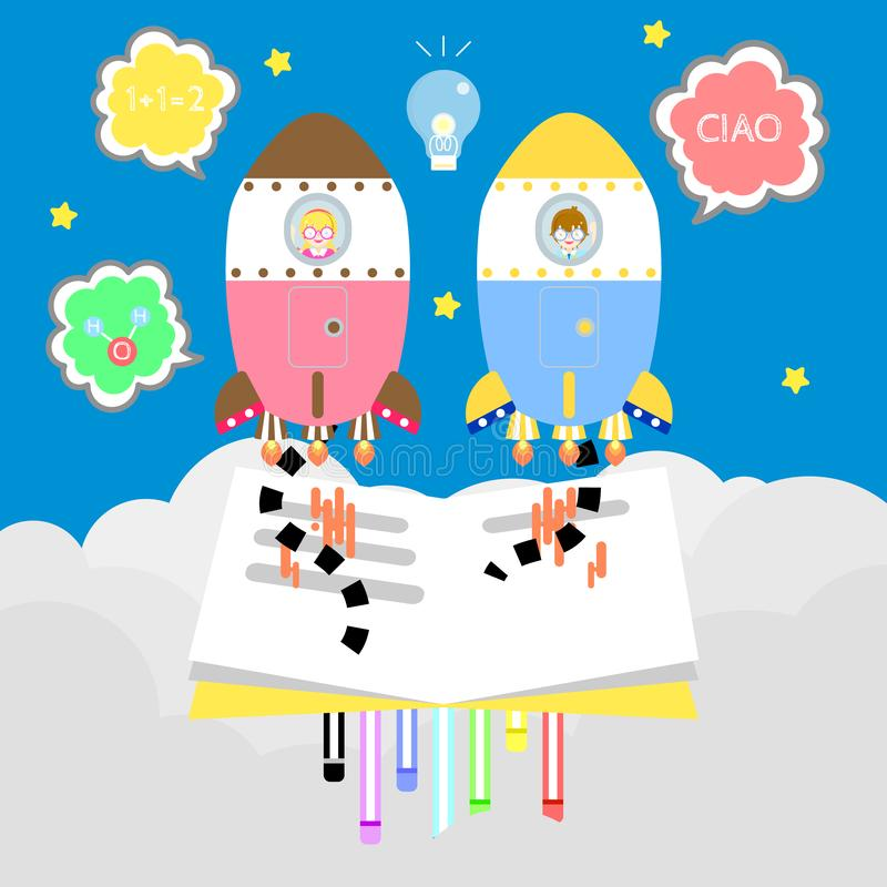 милый мальчик и девушка книгоеда kawaii уча назад к летанию концепции школы с красочной ракетой в космосе, небе с предпосылкой об иллюстрация штока