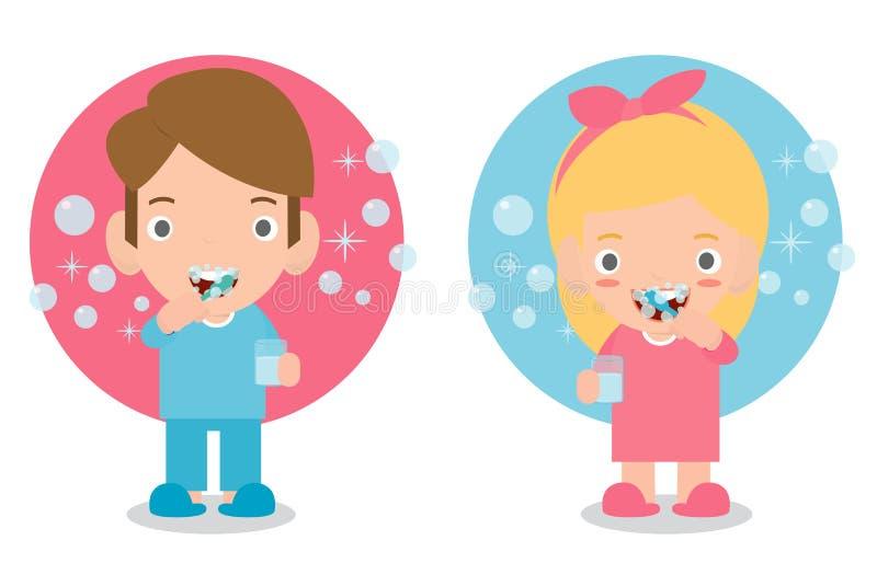 Милый мальчик и девушка чистя ее зубы щеткой, ребенка заботя для зубов, ребенк чистя ее зубы щеткой, смешную иллюстрацию вектора  иллюстрация штока