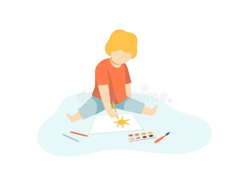 Милый мальчик сидя на поле и рисуя с красками и карандашами на листе бумаги, творческих способностях детей, образовании, развитии бесплатная иллюстрация