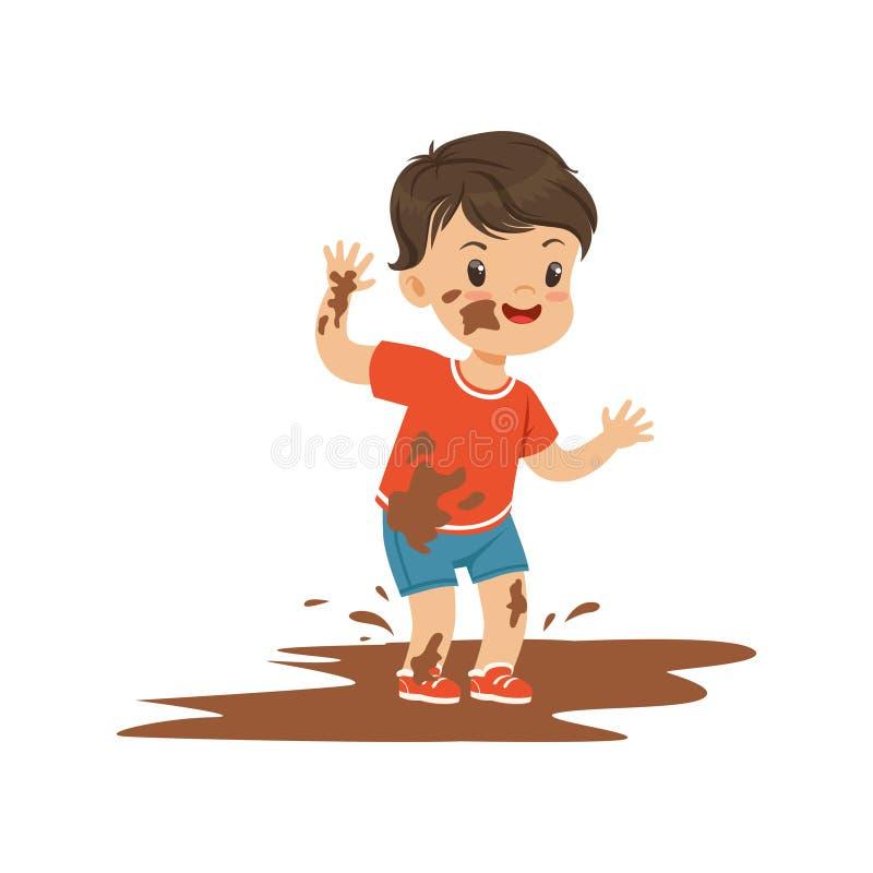 Милый мальчик скача в грязь, маленький ребенок задиры хулигана жизнерадостный, плохая иллюстрация вектора поведения ребенка иллюстрация штока