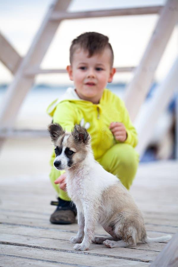 Милый мальчик с его щенком Защита животных стоковая фотография