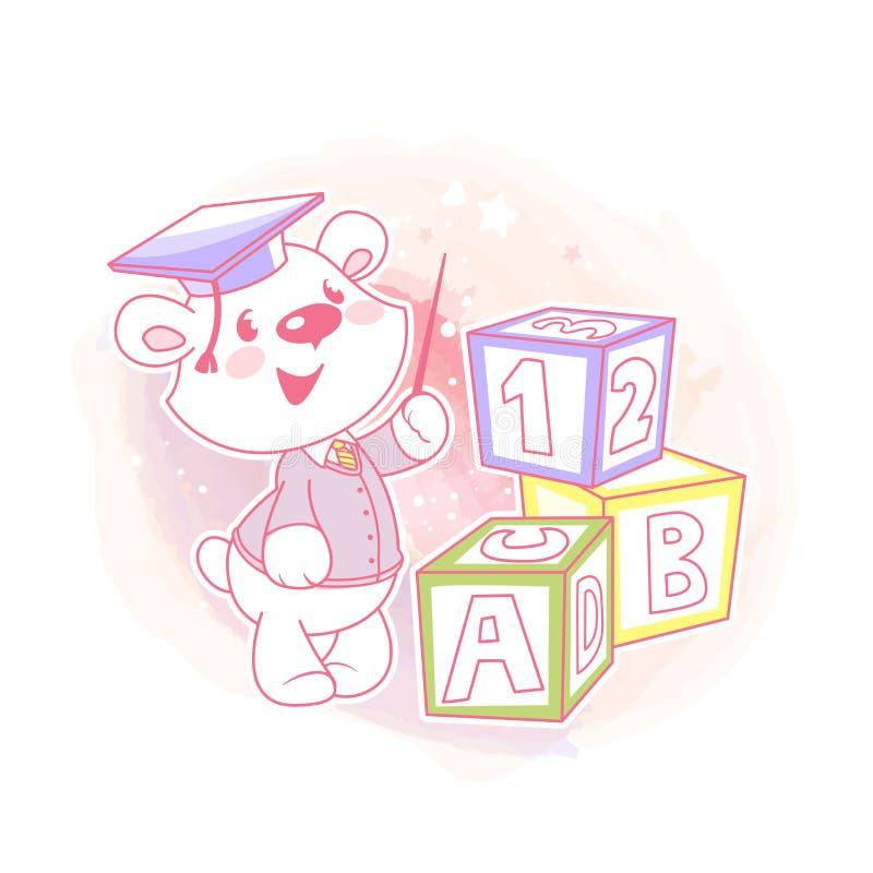 Милый мальчик учит номера и письма бесплатная иллюстрация