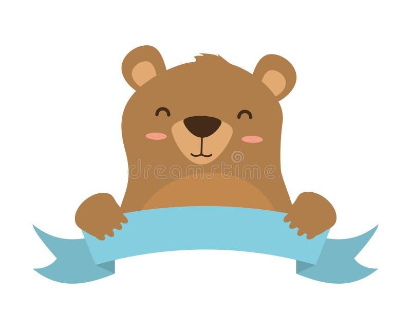 Милый медведь и лента иллюстрация вектора