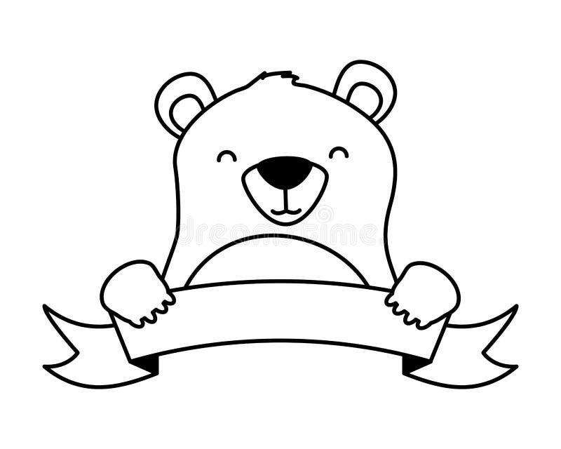 Милый медведь и лента бесплатная иллюстрация