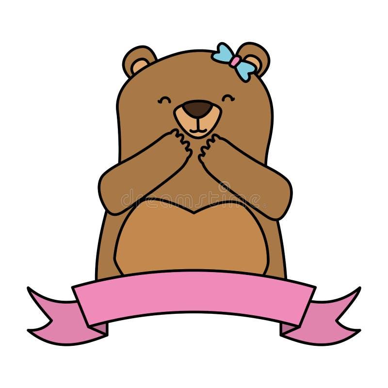 Милый медведь и лента иллюстрация штока