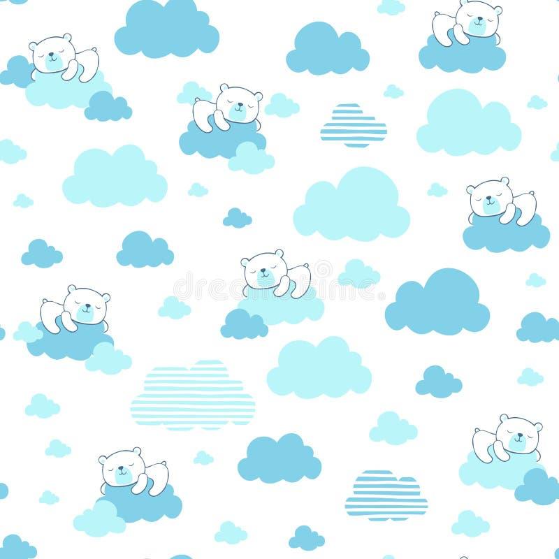 Милый медведь младенца мечтая на голубой картине облаков стоковые фотографии rf