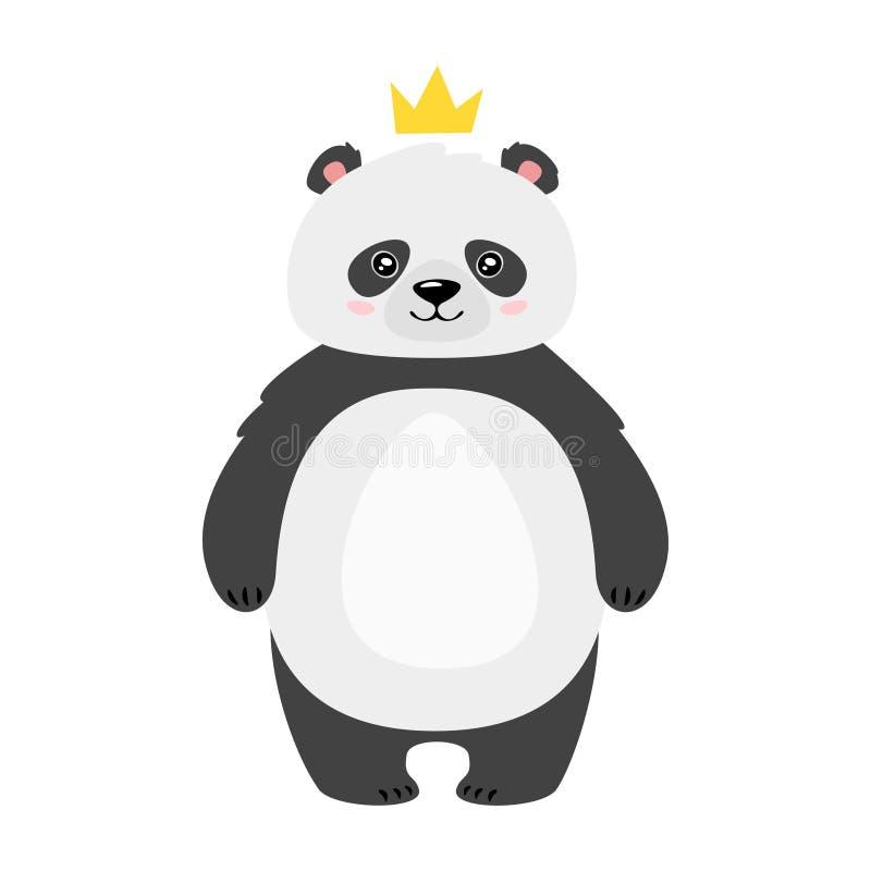 Милый медведь панды в иллюстрации вектора кроны плоской иллюстрация штока