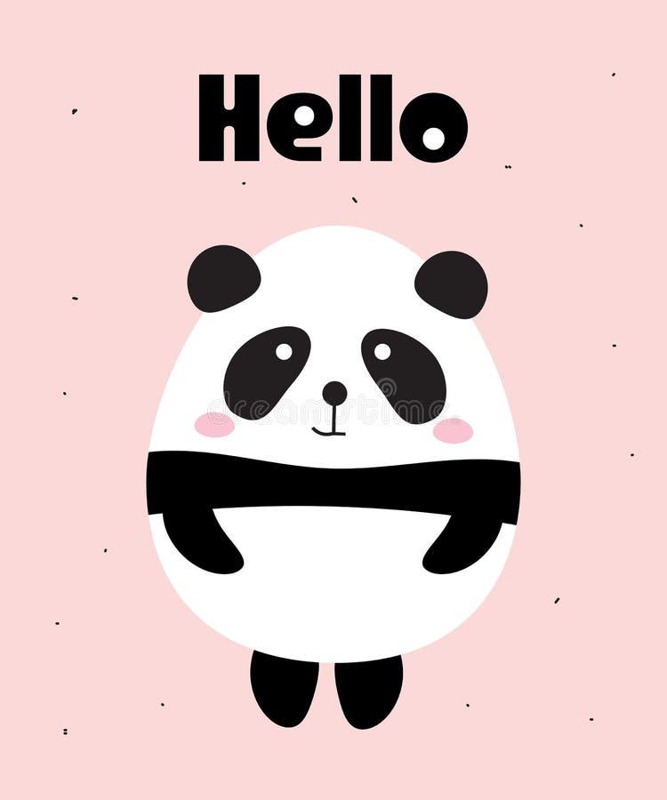 Милый медведь панды говорит здравствуйте! иллюстрация вектора