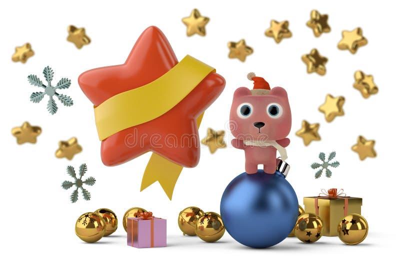 Милый медведь с звездами, рождественскими открытками иллюстрация 3d иллюстрация вектора