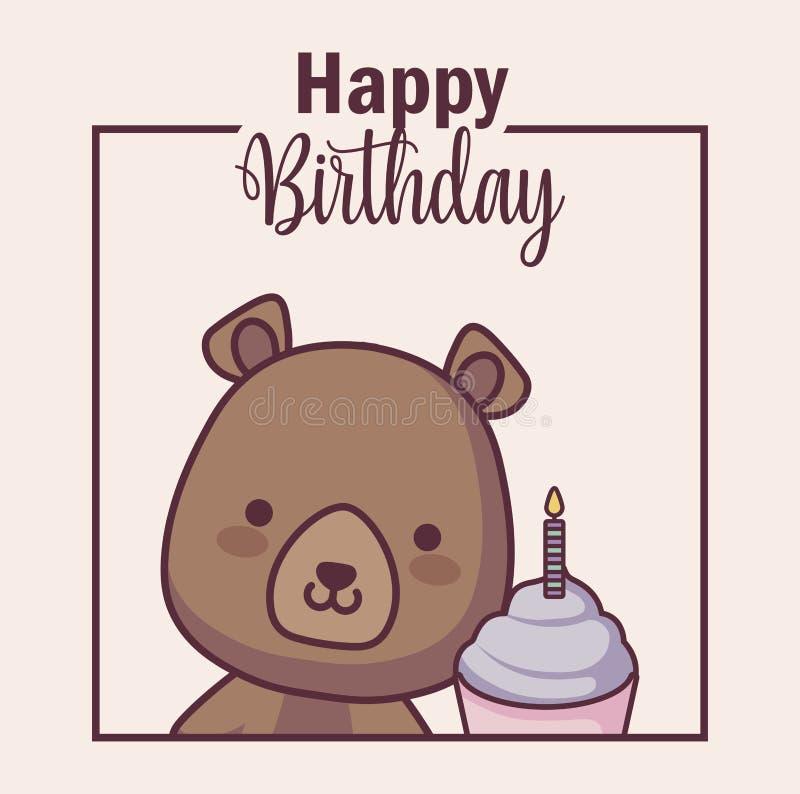 Милый медведь с поздравительой открыткой ко дню рождения с днем рождений пирожного иллюстрация вектора