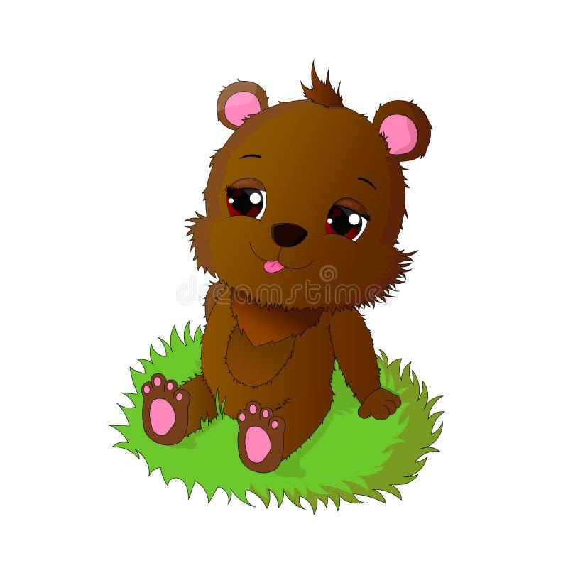 Милый медвежонок сидит на траве бесплатная иллюстрация