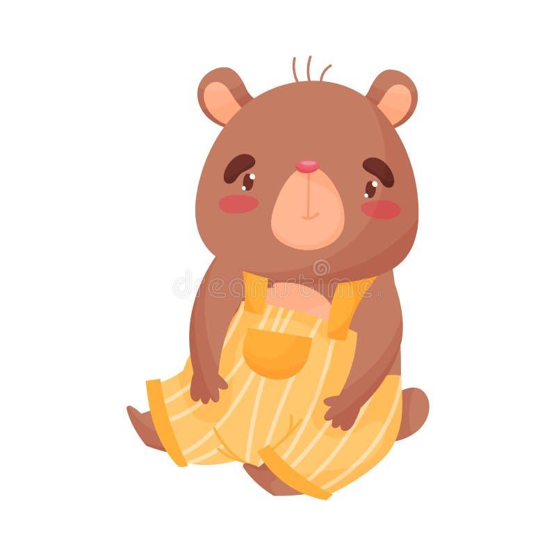 Милый медвежонок сидит r бесплатная иллюстрация