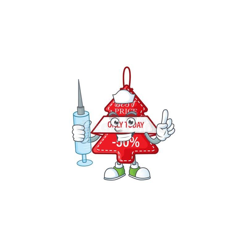 Милый медсестра christmas лучший ценник персонажа мультипликационный стиль с шприцем иллюстрация вектора