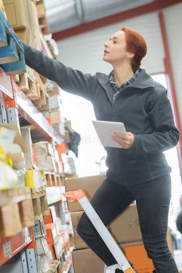 Милый менеджер склада используя таблетку и лестницу в складе стоковое фото rf