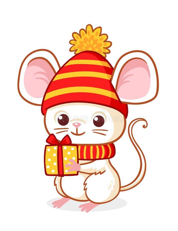 Милый меньшая мышь на белой предпосылке держит подарок Нового Года Иллюстрация вектора на теме рождества иллюстрация вектора