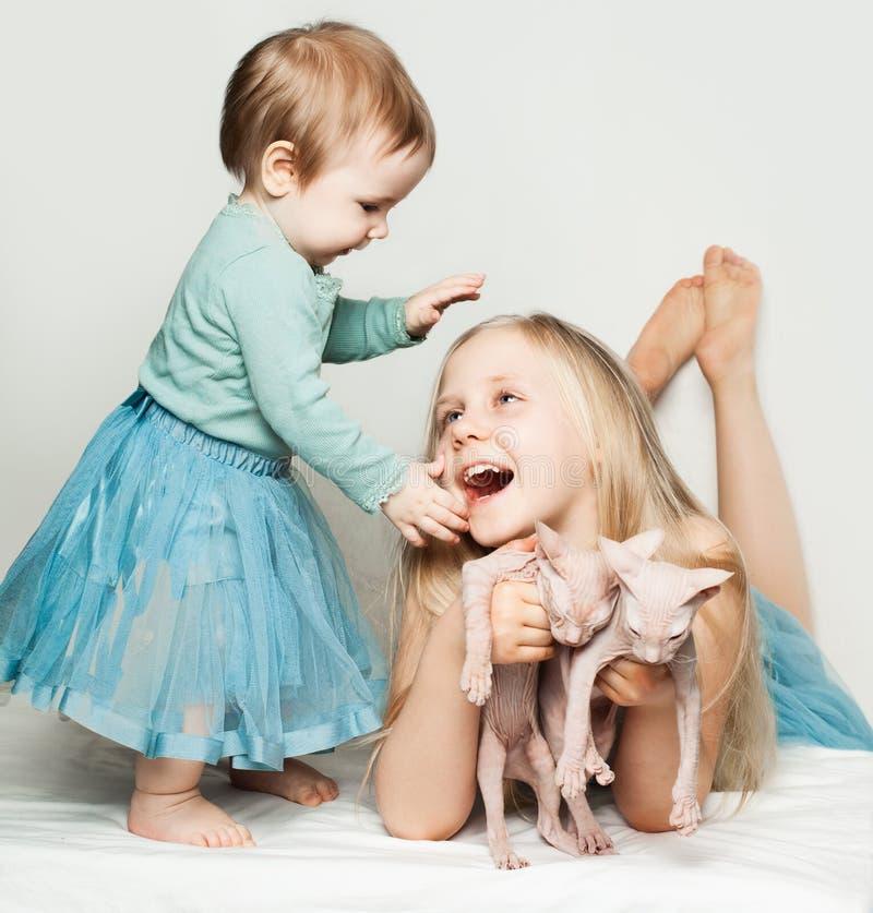 Милый младенец и маленькая девочка играя с котами стоковое изображение rf