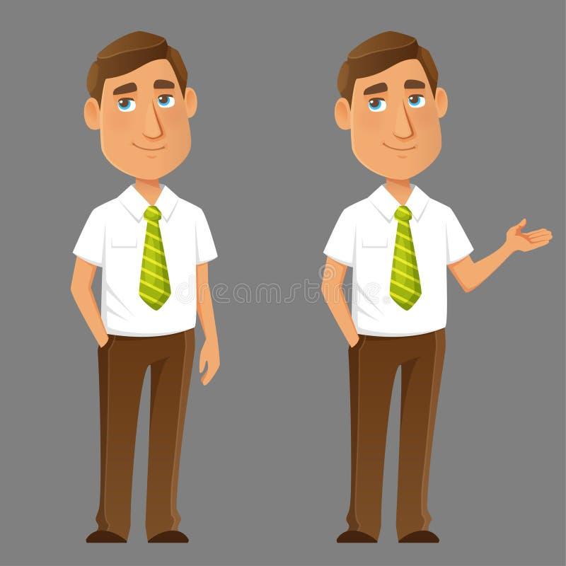 Милый молодой парень в умном вскользь офисе одевает иллюстрация вектора
