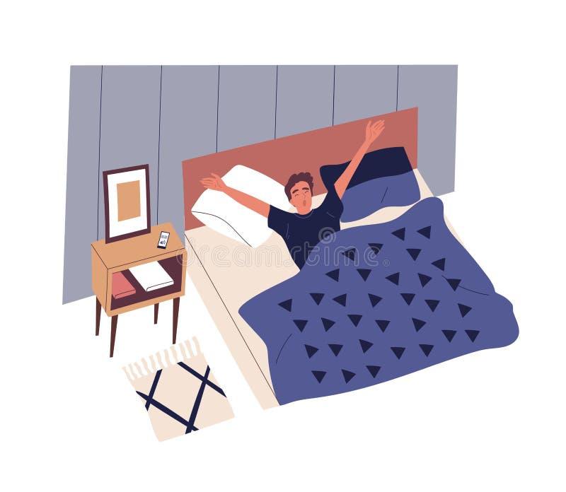 Милый молодой человек просыпая вверх в утре Мужской характер лежа в кровати, зевать и протягивать Начало рабочего дня, ежедневное иллюстрация вектора