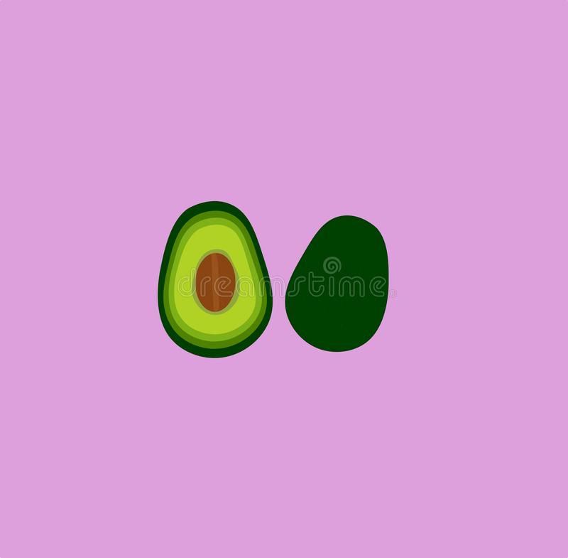 Милый мультфильм авокадоа на фиолетовой предпосылке r стоковая фотография