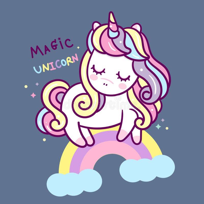 Милый мультфильм единорога с пони радуги волшебным маленьким для пастельного цвета плаката питомника иллюстрация вектора