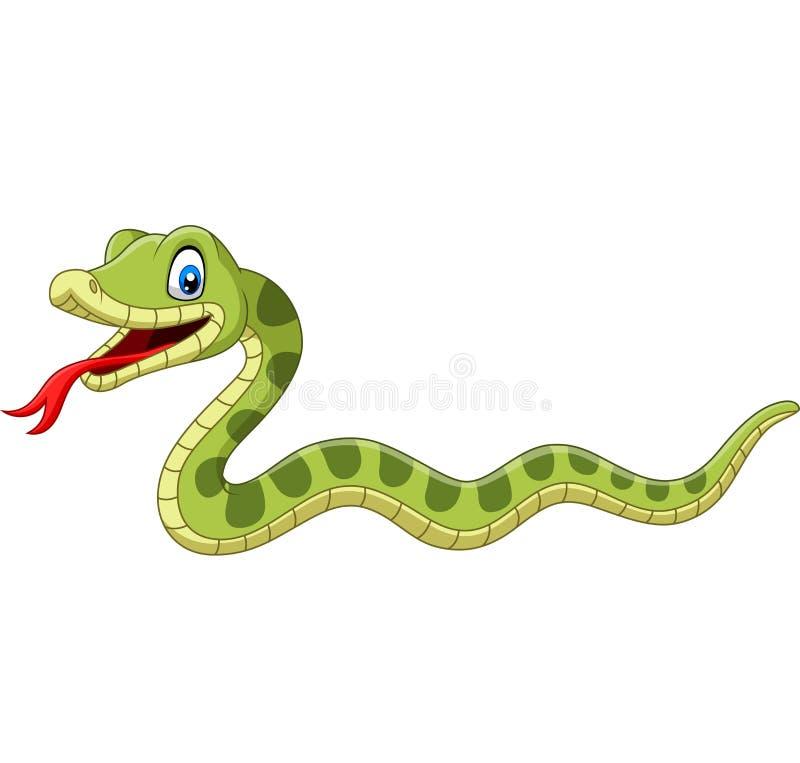 Милый мультфильм зеленой змейки на белой предпосылке бесплатная иллюстрация