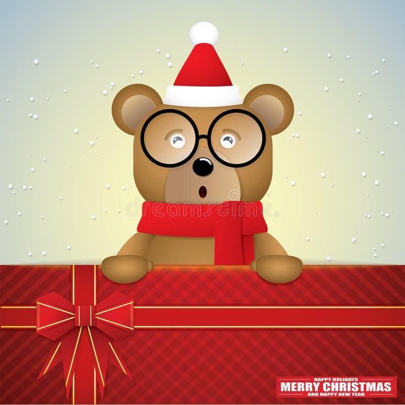 Милый мультфильм карты бурого медведя и подарка на сезон зимы стоковые изображения