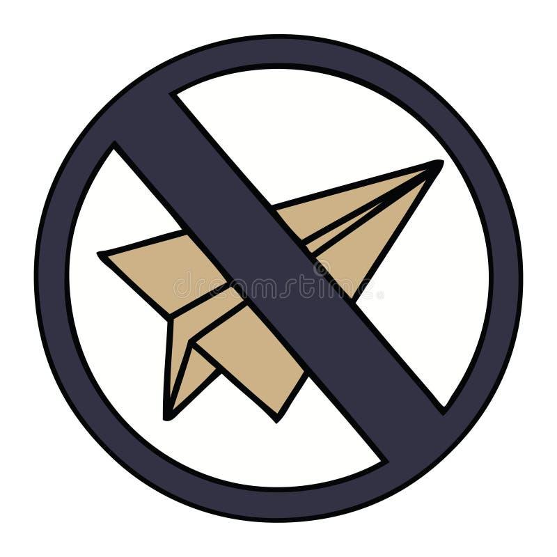 милый мультфильм отсутствие бумажного знака аэроплана иллюстрация штока