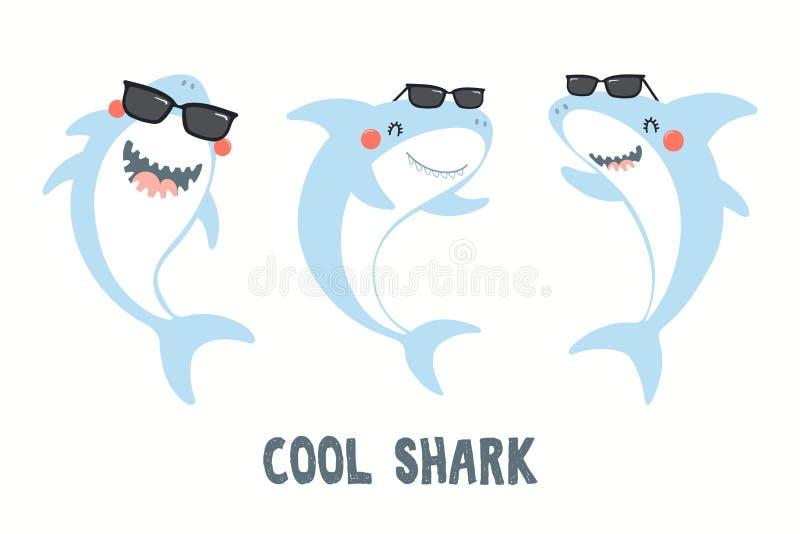 Милый набор акул бесплатная иллюстрация