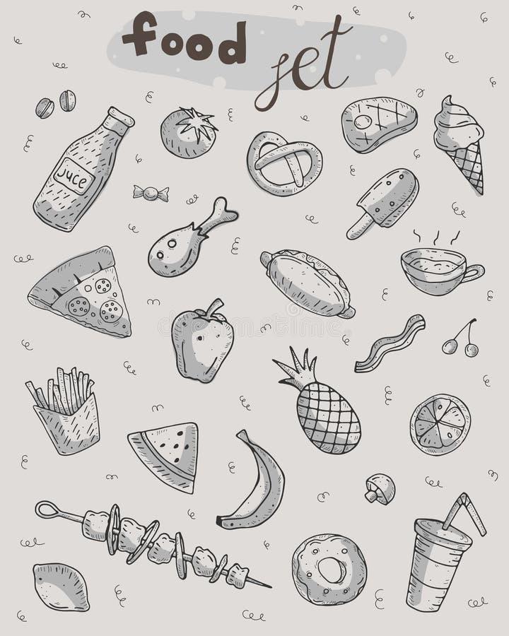 Милый набор еды мультфильма на нейтральной предпосылке бесплатная иллюстрация