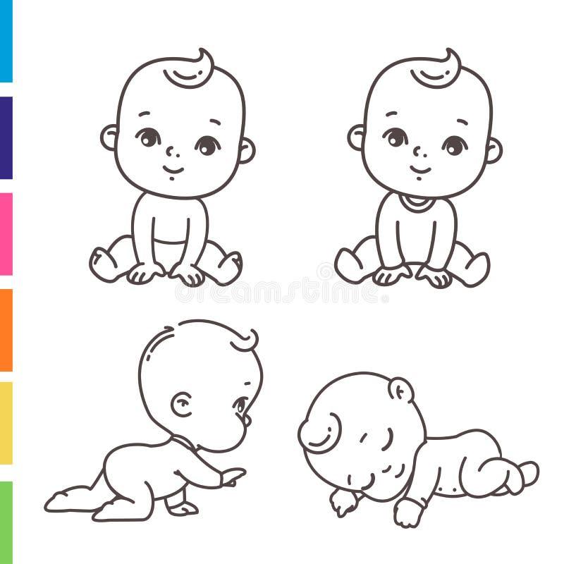 Милый набор значка мальчика Крася страница стикеров плана меньшего ребенка иллюстрация штока