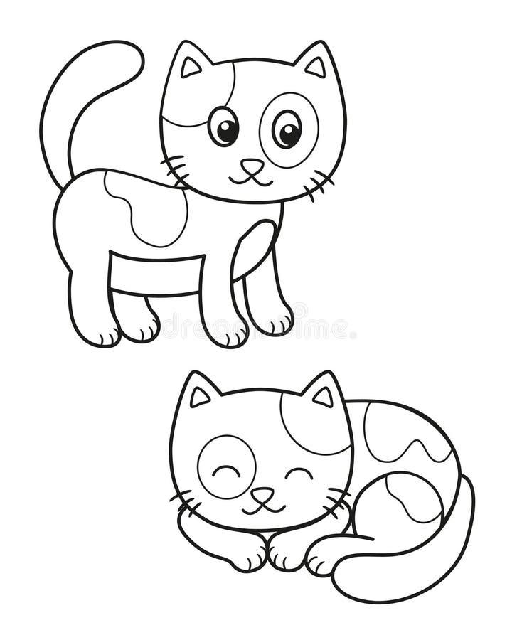 Милый набор кота мультфильма, иллюстрации вектора черно-белые для расцветки детей или творческие способности бесплатная иллюстрация