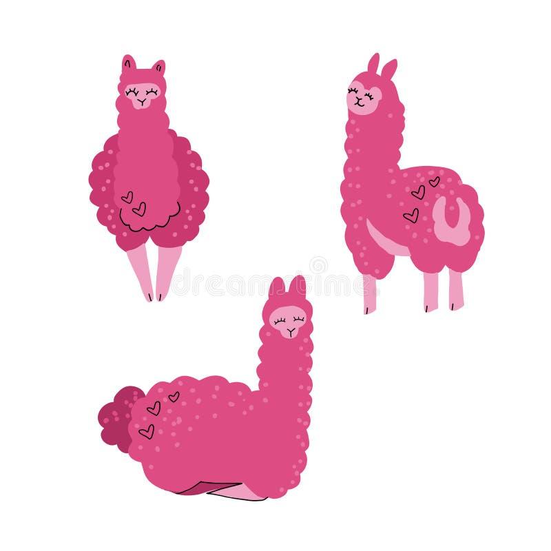 Милый набор ламы для дизайна Альпаки дерева Ребяческая печать для футболки, одеяния, карт и украшения питомника Иллюстрация векто иллюстрация штока