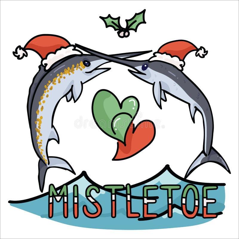 Милый набор мотива иллюстрации вектора мультфильма омелы Марлина океана Элементы меч-рыб любовника морской жизни руки вычерченные иллюстрация вектора