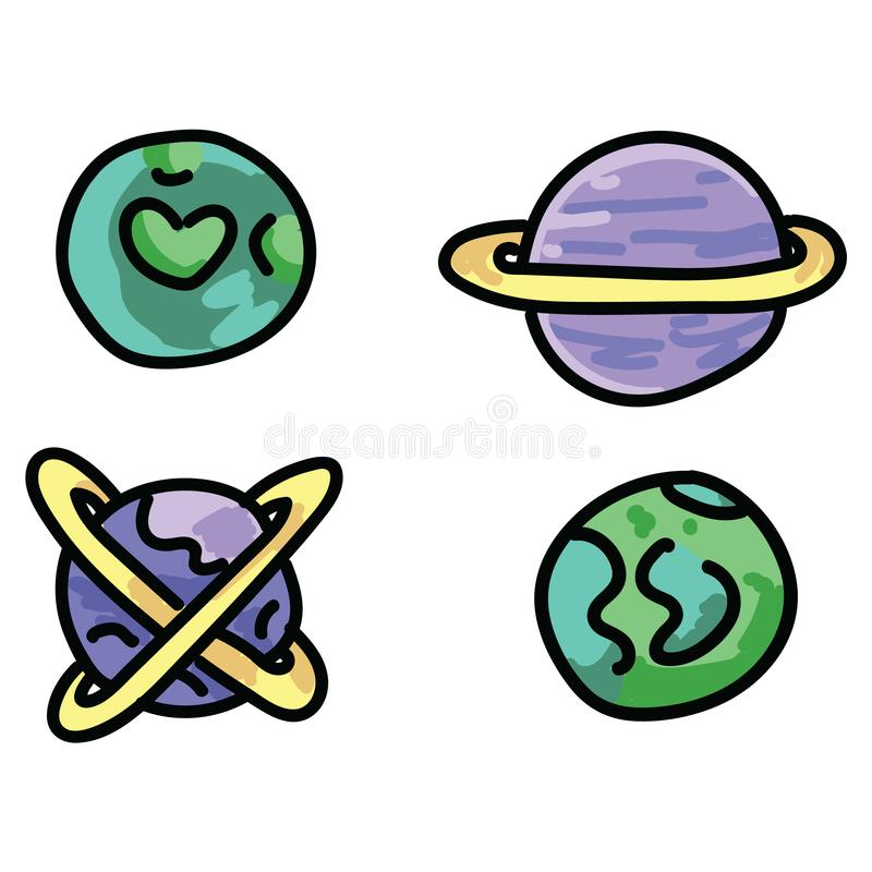 Милый набор мотива иллюстрации вектора мультфильма планет космического пространства Clipart элементов галактики руки вычерченное  иллюстрация штока