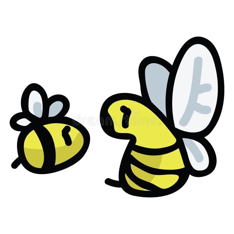 Милый набор мотива иллюстрации вектора мультфильма пчелы меда Насекомые опылителя сада руки вычерченные ведут блог значки иллюстрация штока