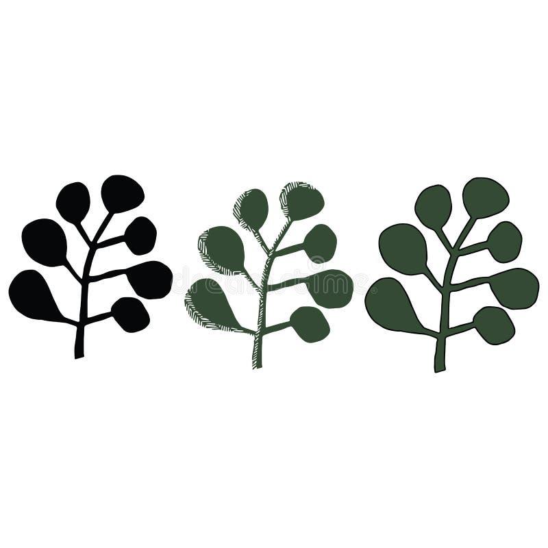 Милый набор мотива иллюстрации вектора мультфильма силуэта lineart сочной листвы Clipart элементов джунглей руки вычерченное для  иллюстрация вектора