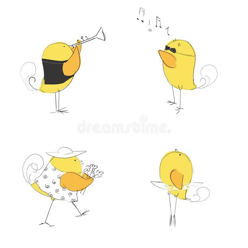 Милый набор музыки цыплят стоковые изображения rf