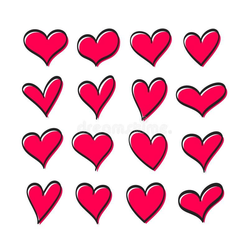 Милый набор сердец бесплатная иллюстрация