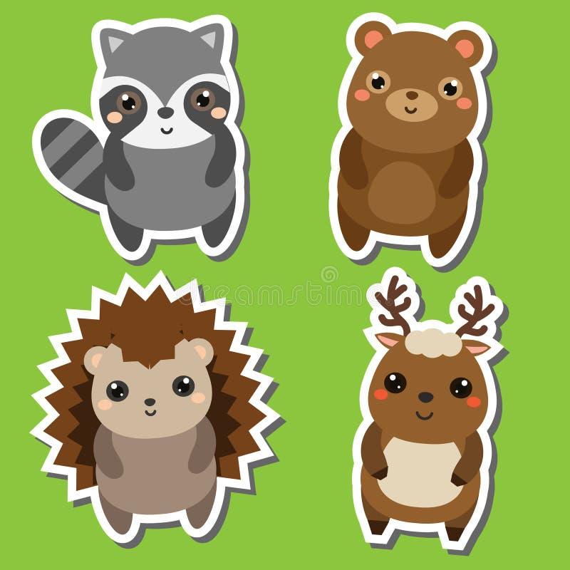 Милый набор стикеров животных forrst kawaii также вектор иллюстрации притяжки corel Енот, медведь, еж, олень иллюстрация штока