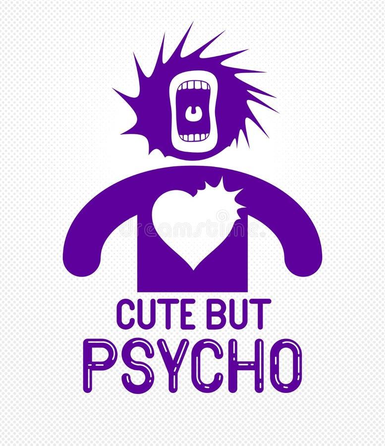 Милый но психопат смешной логотип или плакат мультфильма вектора со странным значком человека выражения и кричащим ртом, печатью  бесплатная иллюстрация