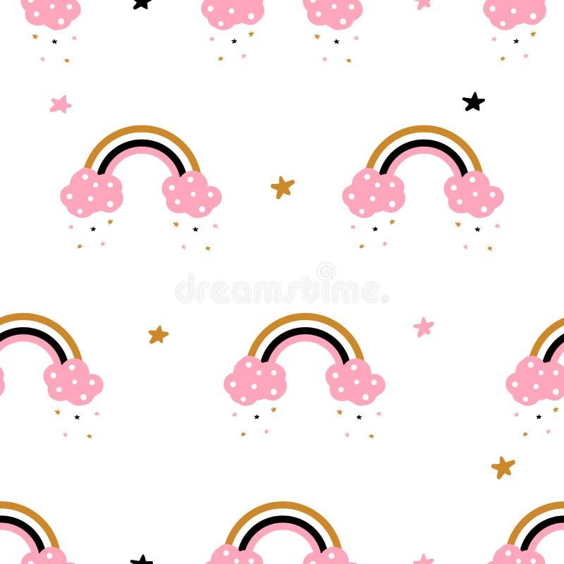 Милый, облако, радуга - безшовная картина Идея для футболки печати иллюстрация вектора