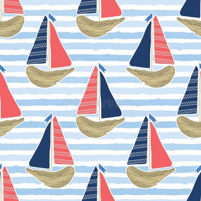 Милый парусник driftwood на голубой картине моря океана Предпосылка вектора нашивок морской воды безшовная Сосуд плавания для стоковые изображения