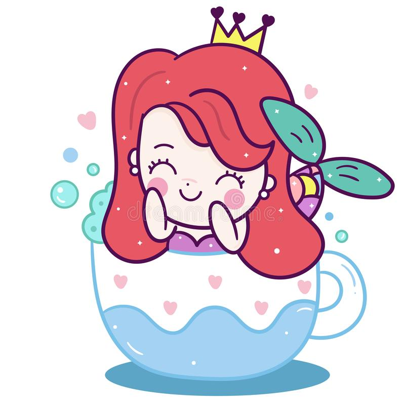 Милый пастельный цвет сказки характера Kawaii мультфильма девушки вектора русалки принцессы, украшение питомника бесплатная иллюстрация