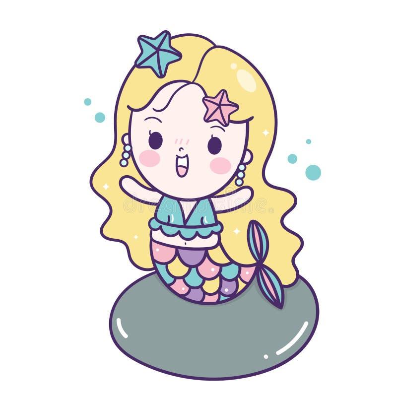 Милый пастельный цвет сказки характера Kawaii мультфильма девушки вектора русалки, украшение питомника иллюстрация штока