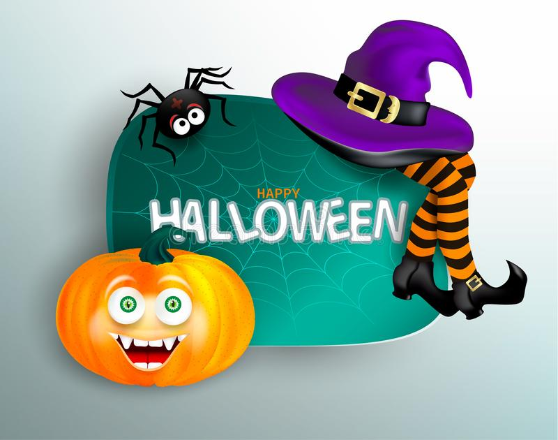 Милый паук на паутине, оранжевая тыква с счастливой стороной изверга, фиолетовая шляпа ведьмы и ноги с striped чулками на белом b иллюстрация вектора