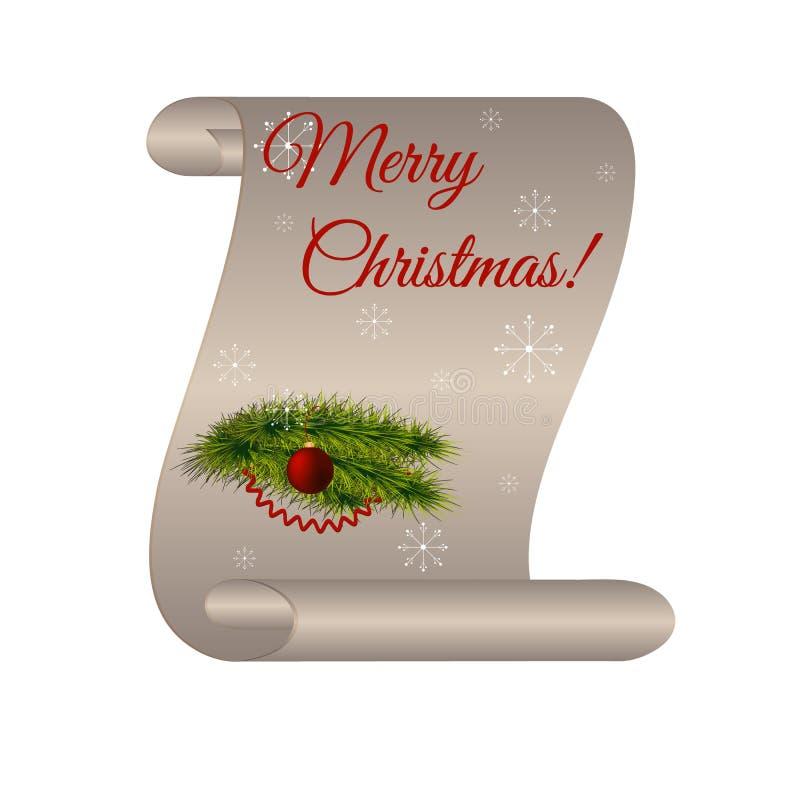 """Милый перечень с рождеством надписи """"веселым! """", белые снежинки, елевая ветвь, змейчатый, красный шарик рождества бесплатная иллюстрация"""